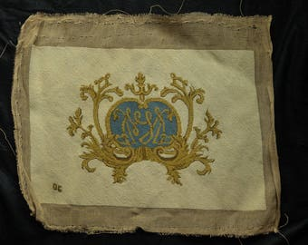 Elegant Scroll Design in Gold and Blue on Cream Needlepoint Piece Vintage