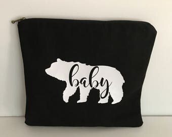 White  Bear on Black Canvas Wet Bag//zippered Pouch