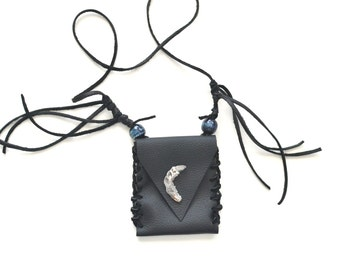 Crescent Moon Leather Pouch Pyrite Geode Medicine Bag  Necklace Bohemian Pouch Fringe