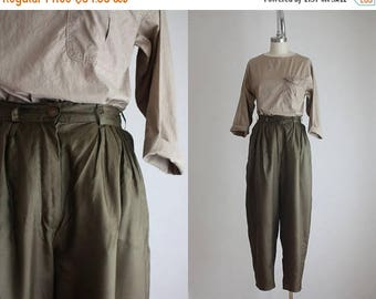 25% SALE olive silk harem pants