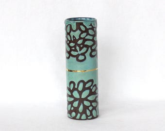 Bud Vase , Turquoise and Gold , Modern Floral