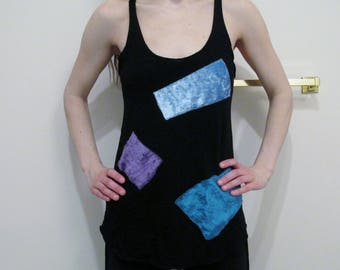 Patchwork Bamboo Racerback Tank Top DIY Pixie Hooping Festival Clothes XS-XL