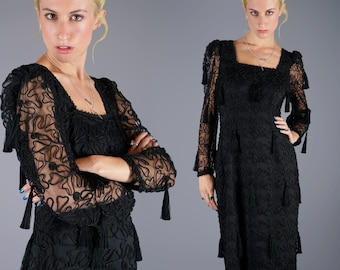 Louis Feraud Tassel Dress Black Sheer Soutache Gown Dress Avant Garde 80s Vintage Dress