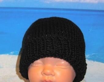 50% OFF SALE Instant Digital File pdf download knitting pattern - Baby Black Beanie pdf knitting pattern from madmonkeyknits