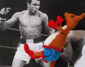 50% OFF SALE Instant Digital pdf download madmonkeyknits Bobby The Boxing Kangaroo Toy pdf knitting pattern
