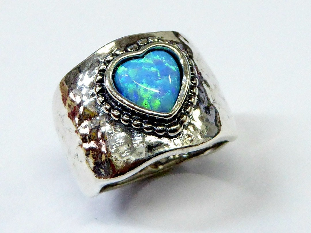 opal ring hippie ring blue opal ring silver ring for. Black Bedroom Furniture Sets. Home Design Ideas