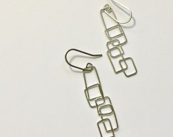 Falling Rectangles Argentium Silver Dangle Earrings