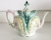 Reserved for Barbara Coultas - Antique Prussia Single Serve Teapot with Lilacs and Ivy Gold Ornate
