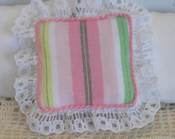 1:12 Pillow - English Garden Stripes and Lace- Scale Miniature Dollhouse - Romantic Shabby Cottage **Free Shipping**