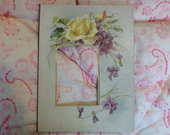 Vintage Victorian or Edwardian Floral Photo Mount Roses and Violets