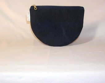 Half Moon Pouch in Navy Waxed Canvas