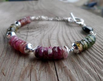 Amazing Rainbow and Blue Tourmaline with Chain Gemstone and Sterling Silver Bracelet