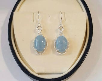 Sterling Silver and Aquamarine Tear Drop Cabochon Dangle Earrings