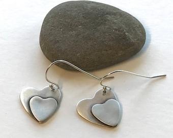 Sterling Silver Heart Earrings,  Handmade Heart Dangle Earrings, Double Heart Earrings, Artisan Heart Dangles, Anniversary Gift