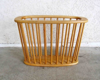 Vintage Blonde Wood Magazine Rack. Made in Japan. Circa 1960's.