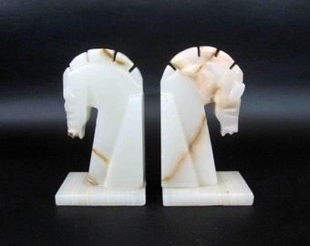 Vintage Mid Century White Marble Horse Head Bookends. Circa 1960's.
