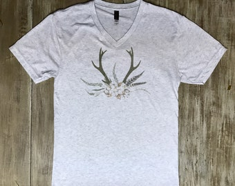 Antler and Cotton Sublimated Short Sleeve tee, V neck