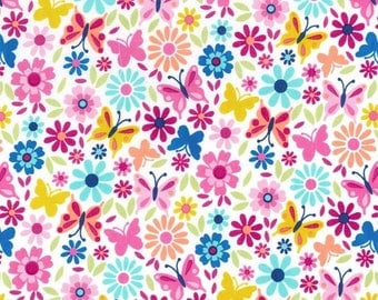 Michael Miller Fabric Little Dee Da Butterflies in color Multi,  Choose your cut
