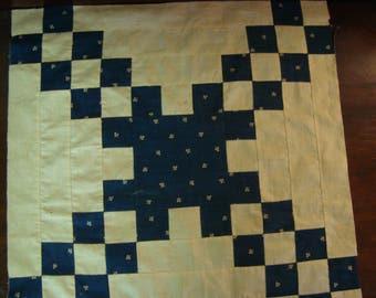 Antique Late 1800 PA Handstitched Navy/white Irish Chain Quilt Top Piece