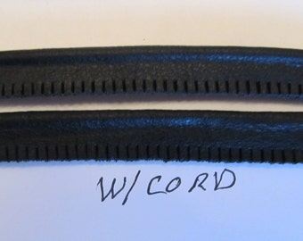 Black Leather piping welting 1/2 in with cord, slashed/ cutedge 18 Yd winder