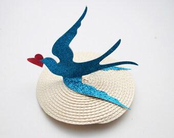 Bluebird fascinator  - lovebird fascinator - glitter fascinator - bird fascinator - bird hair accessory - bridsmaids hair accessory