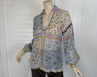 60s / 70s Boho Cotton Blouse- 1960s Sheer Hippie Top- Scarf Print- Small