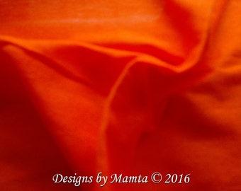 Neon Orange Dupioni Silk Fabric Fat Quarter, Tangerine Dupion Fabric, Indian Silk, Orange Dupion Silk, Silk India Fabric, Neon Dupioni Silk