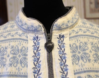 Vintage Dale of Norway IOC Licensed Olympic Ski Sweater, Cardigan, Size L, Light Blue Floral