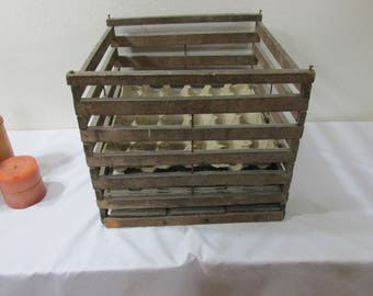 Wood Egg Crate Chicken Farmer Shipping Slatted Box with Layer Dividers