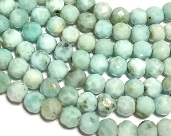 Dominican Larimar FACETED round beads 7 inch strand awesome deal Real genuine larimar all natural