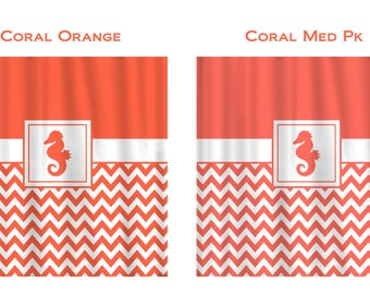 Custom Monogram Seahorse Shower Curtain -Solid Top and Chevron Bottom with large Seahorse, Can Add Your initials - Specify your colors