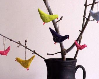 Pink birds . A set of 5 birds.