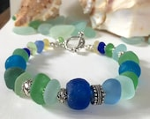 "Sea Glass Bracelet - Blue Green Aqua Yellow - Sterling Sea Horse Charm & Toggle Clasp - 8"" length - UNDER THE SEA"