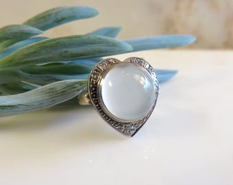 Circa 1930 Heart Shape Ring Set with Moonstone and Diamonds