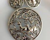 Vintage 1958 Sarah Coventry Woodland Flight Deer NECKLACE Brooch Earring Set