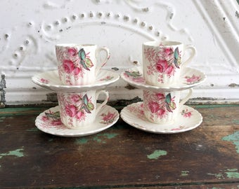 Copeland Spode England DUBARRY Pink Roses Tea Cup & Saucer Demitaase set of 4