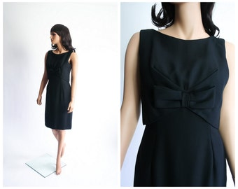 50s Cocktail Dress 1950s Rayon Crepe Wiggle Bowtie Party Dress 1960s Babydoll Bow LBD Pencil Skirt 60s Evening Knee Length Dress Small
