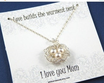 Christmas Sale Birds Nest Necklace , Birds Nest With Three Eggs, Mothers Necklace, Sterling Silver Chain