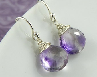 Amethyst Earrings,Moss Amethyst Earrings,Sterling Silver Earrings,February birthstone,Wire Wrapped Amethyst earrings,super seven,purple gem