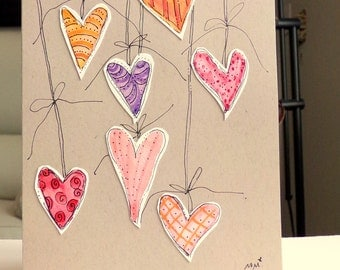 "Hearts...  Watercolor Original  Kraft Tan Card 5"""" x 6 7/8"" & Envelope  betrueoriginals"