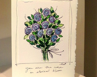 "You Are A Rose In Eternal Bloom  Watercolor Original Strathmore Card 5"""" x 6 7/8"" & Envelope Card Blank  betrueoriginals"