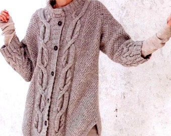 Vintage Knitting Pattern Cable Jacket Car Coat Cardigan Tunic  Three Quarter Aran Celtic Scottish Tweed  INSTANT DOWNLOAD PDF