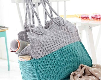 INSTANT DOWNLOAD PDF  Vintage Crochet Pattern  Handy Hold All  Tote Shopping Beach Bag  Retro