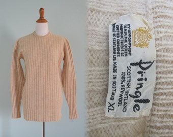 Cozy 70s Oatmeal Heather Wool Sweater by Pringle - Vintage Cream Shetland Wool Sweater - Vintage 1970s Sweater M L