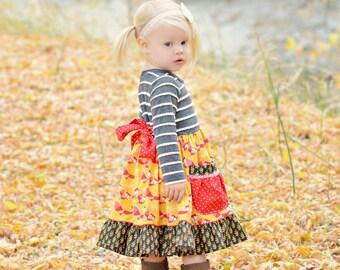 Girls Knit Fox Dress- Winter 2016 Collection by Mellon Monkeys