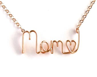 Mom Name Necklace. Rose Gold Mom Heart Necklace. Aziza Jewelry. Mother's Day Jewelry