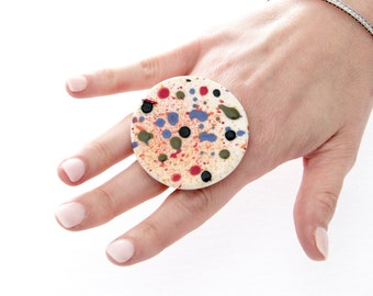 Big Ceramic Ring  - big ring  bold ring, oversize ring, handmade ring by StudioLeanne, ceramic jewelry,  statement jewelry