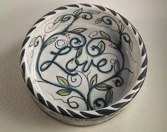 cat bowl - hand painted ceramic - Majolica  - wheel thrown pottery - vines leaves - expressions of love