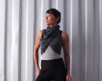Multi tie shawl top - Wrap top - Yoga top - Dance wear - Workout - Athleisure. Charcoal - Stone. Onesize