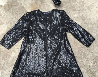 Black Sequin and Bead Jacket - Swing Jacket - Open Front - Flashy Sequin Coat - Wedding Party Fancy Flashy by Jewel Queen - Bust 42 44